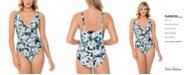 Swim Solutions Plunge Tummy Control One-Piece Swimsuit, Created for Macy's