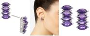 Macy's Amethyst (4 ct. t.w.) & Diamond (1/10 ct. t.w.) Stud Earrings in 14k White Gold