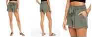 Rewash Juniors' Tie-Front Raw-edged Shorts