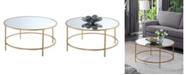 Convenience Concepts Gold Coast Faux Mirrored Round Coffee Table