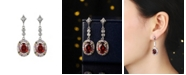 A&M Silver-Tone Ruby Accent Drop Earrings