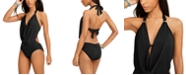 Bar III Solid Cowl-Neck Monokini One-Piece Swimsuit, Created for Macy's