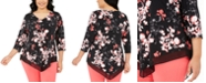 Alfani Plus Size Printed Point-Hem Top, Created for Macy's