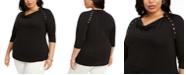 Belldini Plus Size Grommet-Trim Cowlneck Top