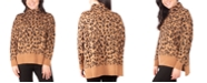 NY Collection Cat-Print Turtleneck Sweater