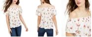 Self Esteem Juniors' Floral-Printed Smocked Off-The-Shoulder Top