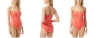 Vince Camuto Spliced Printed Bandeau One-Piece Swimsuit
