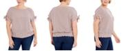 Michael Kors Plus Size Striped Tie-Sleeve Top