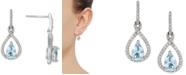Macy's Aquamarine (5/8 ct. t.w.) & Diamond (1/5 ct. t.w.) Drop Earrings in 14k White Gold