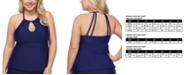 Raisins Curve Trendy Plus Size Juniors' Solid Rosalie Underwire Tankini Top