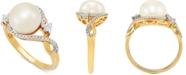 Macy's Cultured Freshwater Pearl (9mm) & Diamond (1/10 ct. t.w.) in 10k Gold