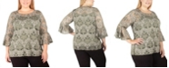 NY Collection Women's Plus Size Lace Bell-Sleeve Tunic