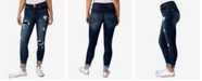 Indigo Rein Juniors' Two-Button Cuffed Destructed Skinny Jeans