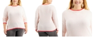 Style & Co Plus Size Thermal Waffle Pullover Sweater, Created for Macy's