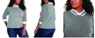 Belldini Plus Size Rhinestone Collared Pullover Sweater