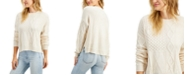 Freshman Juniors' Patchwork Cable-Knit Sweater