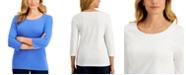 Karen Scott Studded Twist-Detail Top, Created for Macy's
