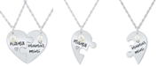 """Macy's 2-Pc. Set Cultured Freshwater Pearl (4mm & 5-1/2mm) Mama & Mama's Mini Heart Puzzle 18"""" Pendant Necklaces in Sterling Silver"""