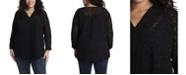 Vince Camuto Women's Plus Size Long Sleeve V-Neck Jacquard Tunic