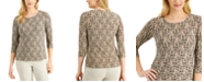 JM Collection Printed Jacquard Top, Created for Macy's