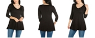24seven Comfort Apparel Women's Three Quarter Sleeve V-Neck Tunic Top