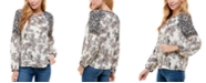 Kingston Grey Juniors' Paisley-Print Split-Neck Top