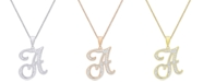 """Macy's Diamond Accent Script Initial 18"""" Pendant Necklace in Silver Plate, Gold Plate & Rose Gold Plate"""