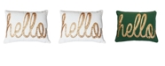 "THRO ""Hello"" Sequin Script Faux Linen Pillow, 14"" x 18"""