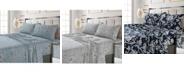 Tribeca Living Colmar Printed 300 Thread Count Cotton Sateen Extra Deep Pocket Sheet Set Queen Sheet Set