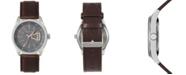 Geoffrey Beene Grey Dial Rose Accent Brown Strap Watch