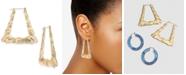Thalia Sodi Gold-Tone Bamboo Triangle Medium Hoop Earrings , Created for Macy's