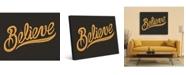 "Creative Gallery Believe Quote in Orange 16"" x 20"" Metal Wall Art Print"