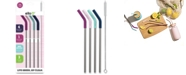 Ello Silicone-Tipped Reusable Stainless Steel Straw4-pk. plus Wire Brush