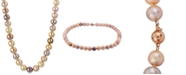 "Macy's Multicolor Cultured Freshwater Pearl (9-1/2-11-1/2mm) 24"" Statement Necklace in 14k Rose Gold"