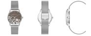 BCBGMAXAZRIA Ladies Round Silver Stainless Steel Mesh Strap Watch, 35mm