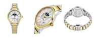 Stuhrling Alexander Watch A204B-04, Ladies Quartz Moonphase Date Watch with Yellow Gold Tone Stainless Steel Case on Yellow Gold Tone Stainless Steel Bracelet