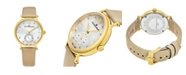 Stuhrling Alexander Watch AD201-02, Ladies Quartz Small-Second Watch with Yellow Gold Tone Stainless Steel Case on Gold Satin Strap