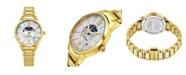 Stuhrling Alexander Watch AD204B-05, Ladies Quartz Moonphase Date Watch with Yellow Gold Tone Stainless Steel Case on Yellow Gold Tone Stainless Steel Bracelet