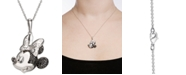 """Disney Cubic Zirconia & Black Spinel Minnie Mouse 18"""" Pendant Necklace in Sterling Silver"""