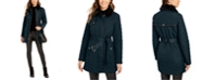 Cole Haan Faux-Leather Trim Belted Faux-Fur Quilted Coat