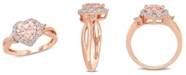 Macy's Morganite (1-1/10 ct. t.w.) Created White Sapphire (1/3 ct. t.w.) and Diamond Accent Heart Ring in 18k Rose Gold Over Silver