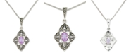 """Macy's Amethyst (1/2 ct. t.w.) &  Marcasite Flower 18"""" Pendant Necklace in Sterling Silver"""