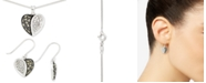 Macy's 2-Pc. Set Marcasite & Crystal Heart Pendant Necklace & Matching Drop Earrings