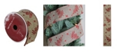 """Northlight Red Tree and Beige Burlap Wired Christmas Craft Ribbon 2.5"""" x 10 Yards"""