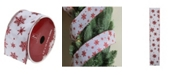 """Northlight Pack of 12 White and Red Snowflakes Burlap Wired Christmas Craft Ribbon Spools - 2.5"""" x 120 Yards Total"""