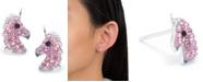 Giani Bernini Pink Pave Crystal Unicorn Stud Earrings set in Sterling Silver