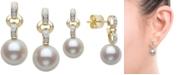 Belle de Mer Cultured Freshwater Pearl (9mm) & Diamond (1/10 ct. t.w.) Drop Earrings in 14k Gold
