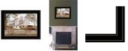 "Trendy Decor 4U American Star Quilt Block Barn by Billy Jacobs, Ready to hang Framed Print, Black Frame, 19"" x 15"""
