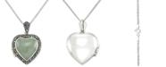 "Macy's Jade (13mm) & Marcasite Heart Locket 18"" Pendant Necklace in Sterling Silver"
