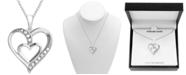 "Macy's Diamond Double Heart 18"" Pendant Necklace (1/10 ct. t.w.) in Sterling Silver"